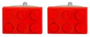 Novelty Red Toy Building Brick Cufflinks