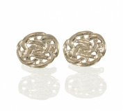 Solid Silver Oval Celtic Knot Cufflinks.