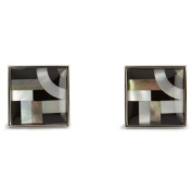 """Onyx / Mother Of Pearl Bauhaus Lines Cufflinks by Simon Carter"""