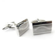 Stainless Steel And Silver Wavy Inlay Cufflinks