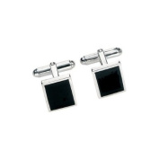 Classic Silver and Black Agate Rectangle Cufflinks