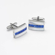 GB75237 - Bernex Cufflinks Sapphire/MOP Rectangle. Crystals Gents Complete with Gift Box