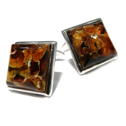 Sterling Silver Reconstructed Amber Clip Square Cufflinks
