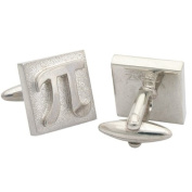 3.14 Squared Pi Cufflinks, Sterling Silver, Handcrafted