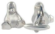 Tux the Linux Penguin Cufflinks, Sterling Silver, Handmade
