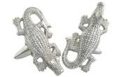 Crocodile Cufflinks, Sterling Silver, Handmade