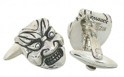 Hannya, Japanese Theatre Cufflinks, Sterling Silver, handmade