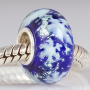 Blue Glass / Snowflakes - Sterling Silver Core Charm Bead - fits Pandora, Chamilia etc style Bracelets - SpangleBead