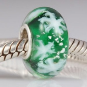Green Glass / Snowflakes - Sterling Silver Core Charm Bead - fits Pandora, Chamilia etc style Bracelets - SpangleBead