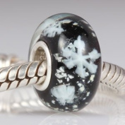 Black Glass / Snowflakes - Sterling Silver Core Charm Bead - fits Pandora, Chamilia etc style Bracelets - SpangleBead