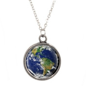 Silver Plated Chain Necklace with Planet Earth design Pendant