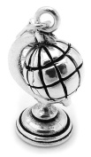6g - Solid .925 Sterling Silver Oxidised 3D Revolving Globe Pendant/Charm - Anti-Tarnish/Lobster Clasp - FREE GIFT BOX