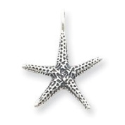 Sterling Silver Antiqued Starfish Pendant - JewelryWeb