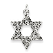 Sterling Silver Antiqued Star of David Pendant - JewelryWeb