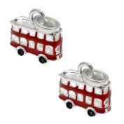 Acosta Beads - Red Enamel Bus Dangle Charm - Slide on and Off Charms - Set of 2