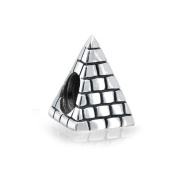 Bling Jewellery 925 Sterling Silver Egyptian Pyramid Bead Charm.