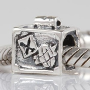 Suitcase - Sterling Silver Charm Bead - fits Pandora, Chamilia etc style Bracelets - SpangleBead