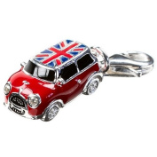 Small Mini Car Silver Clip On Charm