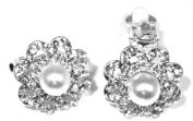Silver Plated Clip-On Pearl and Crystal Earring Round. Add a little sparkle to your life!