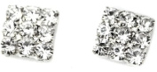 Crystal Rhinestone Diamante Square Magnetic CLIP ON Earrings Stud