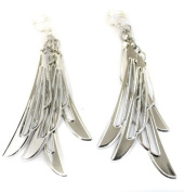 Blade Chandelier Silver Tone Fashion Earrings Costume Jewellery Clip On Womens Girls Clipon