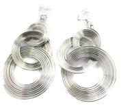 Spring Hoop Chandelier Silver Tone Fashion Earrings Costume Jewellery Clip On Womens Girls Clipon