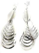 Two Large Drops Chandelier Silver Tone Fashion Earrings Costume Jewellery Clip On Womens Girls Clipon
