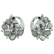Clip On Earrings Store Silver Crystal and Frosted Peacock Clip On Earrings