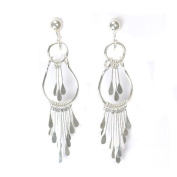 Pamela Silver Crystal Clip On Earrings