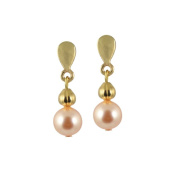 Solitaire Peach Pearl Clip On Earrings