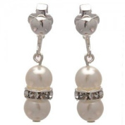 Joasia Silver White Pearl Crystal Clip On Earrings