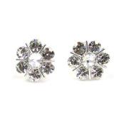 Clip On Earrings Store Clear Crystal Flower Clip On Earrings