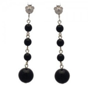 MARTINIQUE Silver Black Bead Clip On Earrings