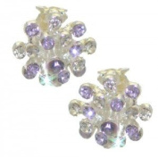 STARBURST Silver Amethyst and Clear Crystal Clip On Earrings