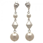 STATUETTE Silver White Pearl Clip On Earrings