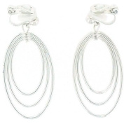 Clip On Earrings Store Triple Hoop Silver Plated Long Drop Clip On Earrings