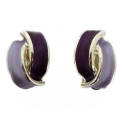 Clip On Earrings Store Purple Tone and Silver Overlapped Semi Hoop Clip On E