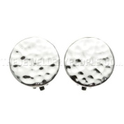 Hammered Disc Silver Clip-on Earrings