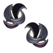 Glamour Silver Plated Lilac Clip On Earrings by Rodney