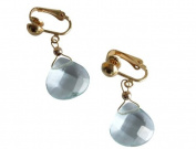 Aquamarine clip-on earrings in 14k gold