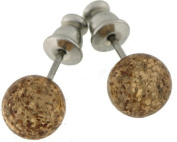 Pair of studs with 8mm Polaris pearl glitter, colour light smoked topaz