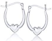 Sterling Silver Heart Detail Creole Earrings