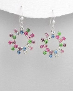 Sterling Silver earrings with multicolour crystals