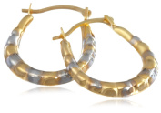 9ct Two Colour Gold Ribbed Creole Earrings