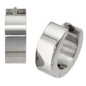 Jewellery Unisex Pair of Creoles inox, frosted, Diameter approx. 13.6 mm