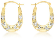 9ct Two Colour Gold Patterned Creole Earrings