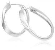 Oval Creole Earrings, Silver, Model 8.53.2019