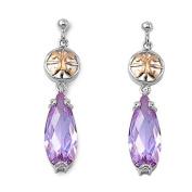 Little Treasures Nickel Free Sterling Silver Earrings Colour CZ Dangle Earring