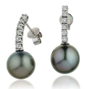 0.30CT Certified G/VS2 Baroque Taihitian Pearl Drop Earings with Round Brillaint Claw Set Diamonds in 18K White Gold