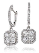 1.10CT Certified G/VS2 Round Brilliant Cut Micro Pave Square Shape Cluster Diamond Drop Earrings in 18K White Gold